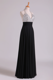 Prom Dresses Halter Beaded Bust Pleated Waistband Chiffon Floor Length