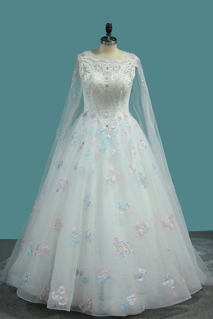2021 Ball Gown Scoop Neck Wedding Dresses Lace Up With Appliques And