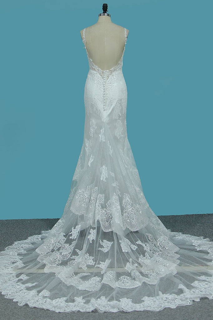 2019 Spaghetti Straps Mermaid Wedding Dresses Tulle With Beads&Appliques