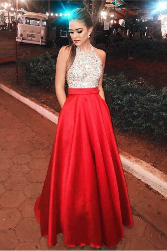 Beautiful Halter Beading Long A-Line Red Open Back Prom Dresses With