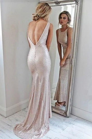 Sparkly Open Back Pink Sheath Long Prom Dresses Evening