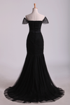2021 Off The Shoulder Prom Dresses Mermaid Train Floor Length With Beading
