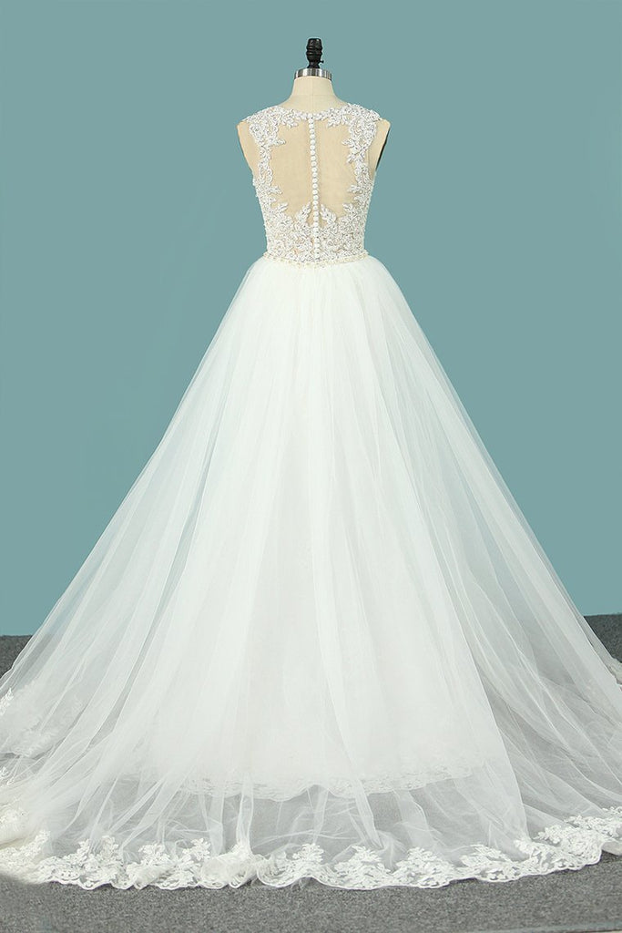 2020 Mermaid Wedding Dresses Scoop Tulle With Applique Court Train