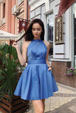 Simple A Line Halter Open Back Satin Blue Short Homecoming Dresses with Pockets JS945