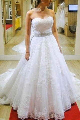 Sweetheart Zipper Back Long Ivory Wedding Dresses Dresses For