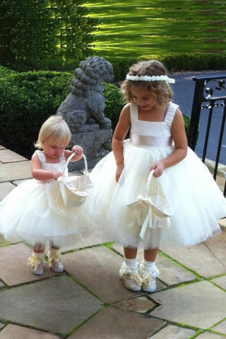 Modern Ball Gown Starps Square Neck Sash Tulle Flower Girl Dresses