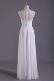 2019 White Bateau A-Line Prom Dresses Chiffon Floor-Length With Beads And