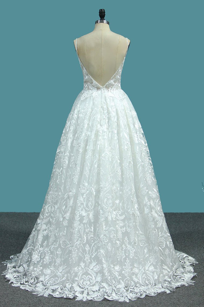 2020 A Line Lace Wedding Dresses Spaghetti Straps With Beads Sweep