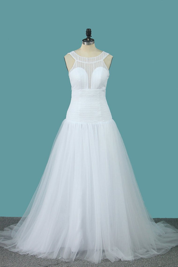 2020 A Line Tulle & Lace Wedding Dresses Scoop Sweep Train New
