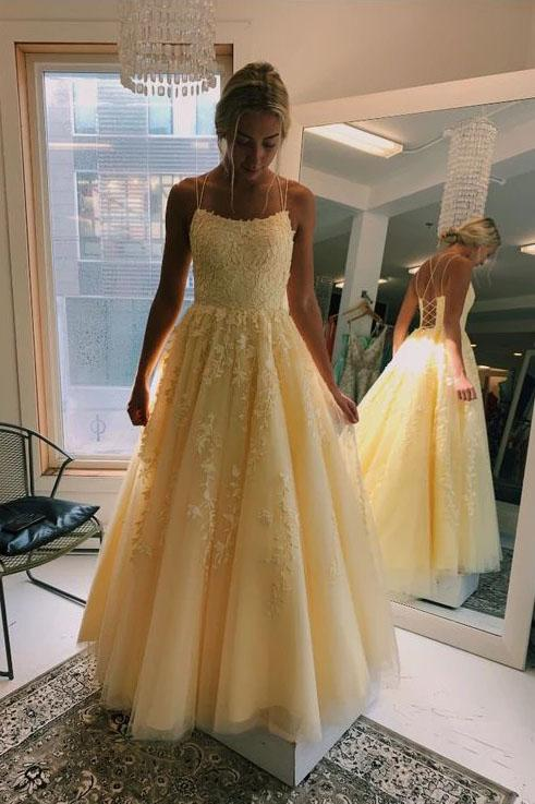 A Line Yellow Tulle Prom Dresses with Lace Appliques, Criss Cross Straps Formal Dresses SME15047