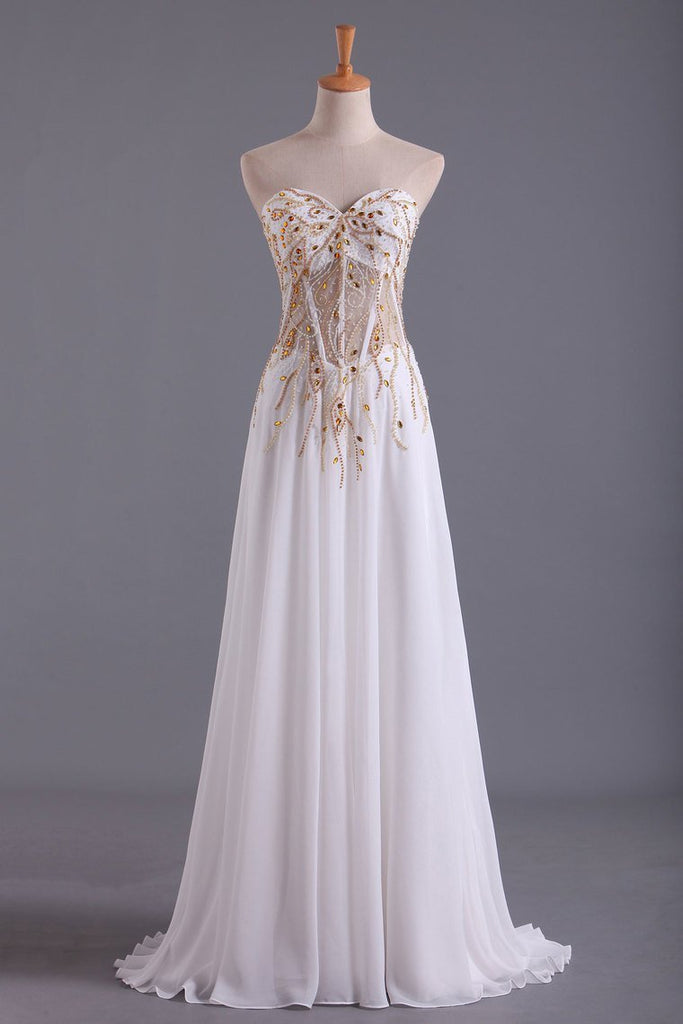 Sweetheart Prom Dresses A Line Chiffon With Beading Floor