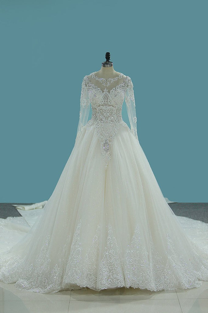 2021 Gorgeous Wedding Dresses Scoop Tulle With Beadings Zipper Back Royal