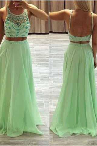 Two Pieces Green Chiffon Rhinestone Backless Scoop A-Line Beads Prom Dresses JS955