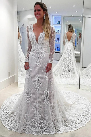 V-Neck Long Sleeves Mermaid Open Back Sheath Lace Modest Wedding