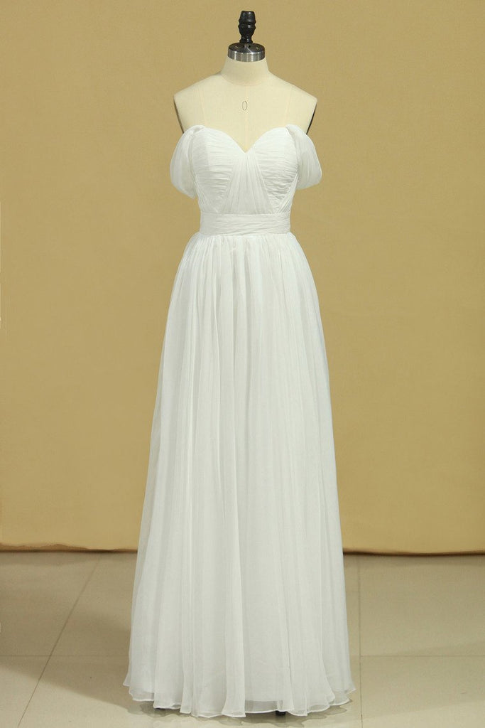 White Prom Dresses Off The Shoulder A Line Chiffon Floor Length With