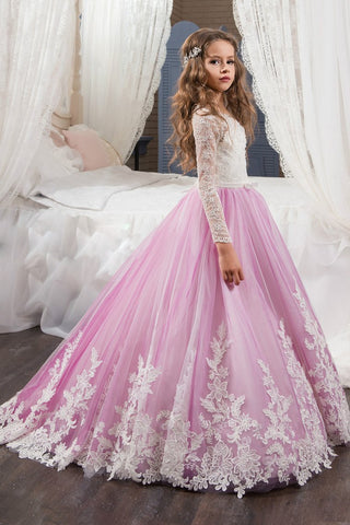 2019 Scoop Flower Girl Dresses Long Sleeves Tulle With Applique And Sash