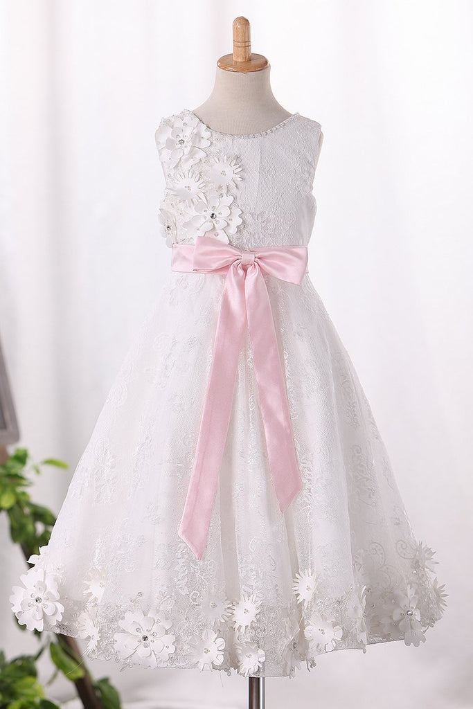 2019 Scoop A Line Lace Flower Girl Dresses