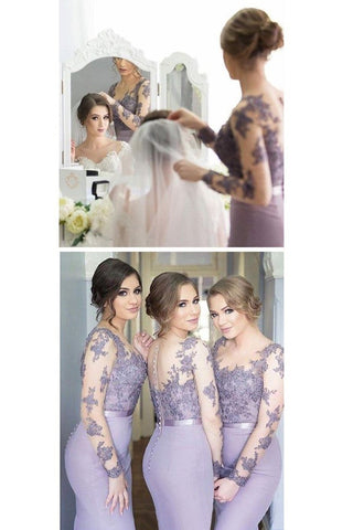 2020 Long Sleeves Bridesmaid Dresses Mermaid Scoop Spandex