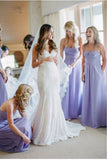 Elegant Lavender Strapless Chiffon Bridesmaid Dresses, Ruffles Wedding Party Dresses SME15172