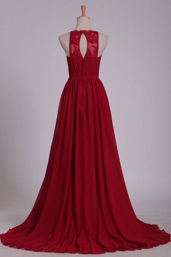 2020 A Line Scoop Prom Dresses Chiffon With Ruffles And Slit