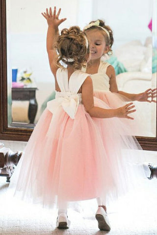 Cute Ball Gown Square Tea-Length Pink Tulle Flower Girl Dresses With Bowknot
