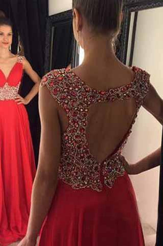 Open Back Red Chiffon V-Neck Cap Sleeve Lace A-Line Beads Prom Dresses JS961