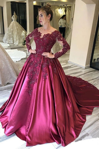 Ball Gown Long Sleeves Burgundy Satin Beads Prom Dresses with Appliques, Quinceanera Dress SME15498