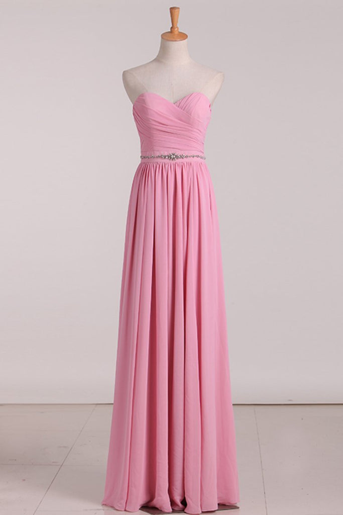 2021 New Arrival Sweetheart Bridesmaid Dresses Chiffon With Ruffles And Beads