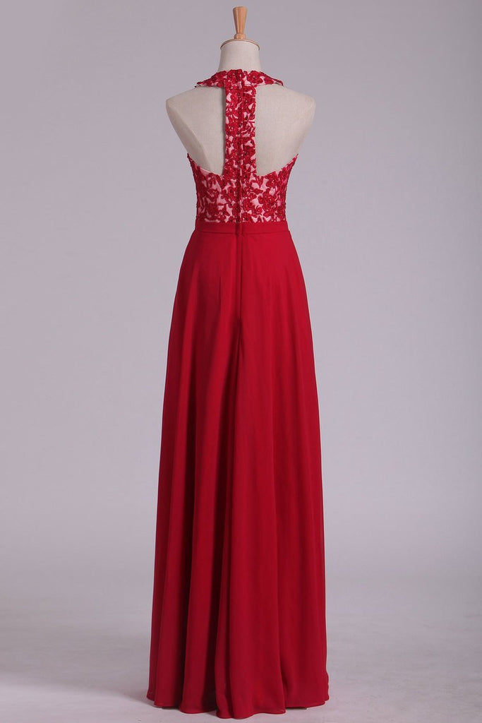 V Neck Prom Dresses A Line Chiffon With Applique And Beads Open Back Floor