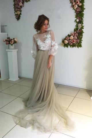 Long Puff Sleeves Prom Dresses Appliques See Through Evening Prom SMEP2HJK88Z