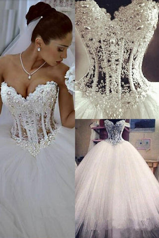 2021 Gorgeous Wedding Dresses A-Line Sweetheart See Through Floor-Length Tulle With Pearls Lace Up