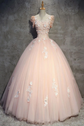 Tulle Long Prom Dress With Flowers, Princess Ball Gown Sheer Neck Party