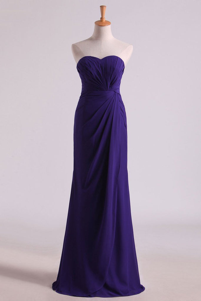 Regency Evening Dresses Sweetheart Ruffled Bodice Floor Length Sheath