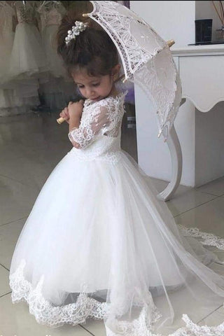 White Lace Appliques A Line Little Girls Dresses Half Sleeves V Neck Flower Girl Dresses PW547