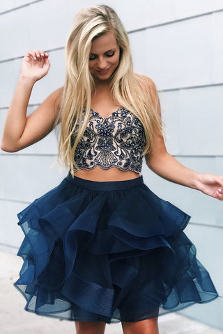 Two Piece Beading Homecoming Dress Lace Up Back Sweetheart