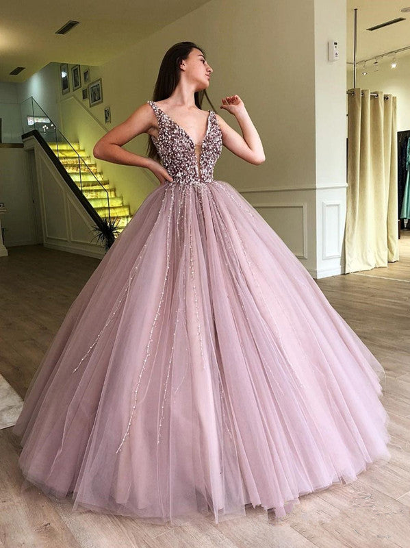Beaded Tulle Deep Illusion V Neck Ball Gown Prom Dress Floor