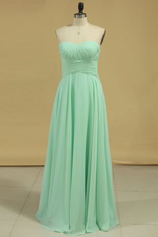 2021 Chiffon Bridesmaid Dresses Sweetheart Ruffled Bodice Floor Length A Line