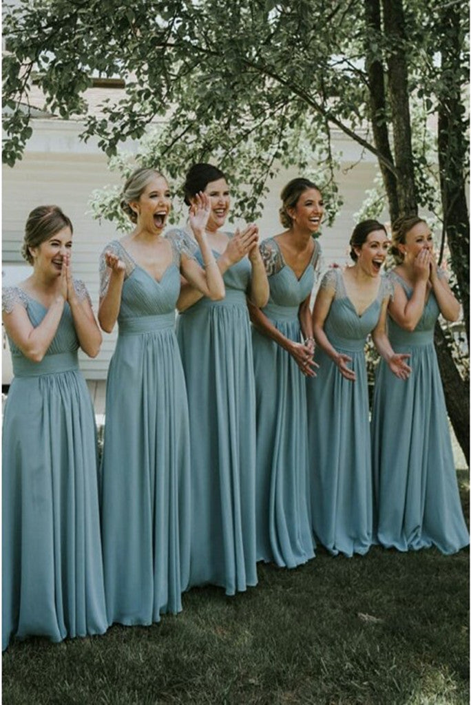 Stunning A Line Chiffon V Neck Dust Green Cap Sleeves With Ruched Long Bridesmaid Dresses