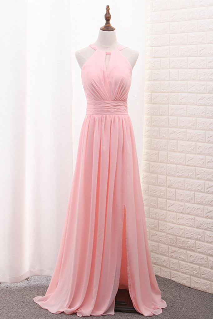 2020 Chiffon Bridesmaid Dresses Scoop A Line Floor Length With Ruffles And
