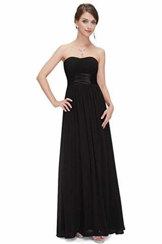 Chiffon Sweetheart Neck A Line Sleeveless Wedding Bridesmaid Long Evening Festive Party