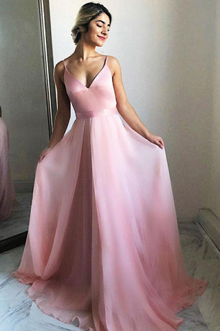 Spaghetti Straps Long V-Neck Simple Flowy Pink Prom Dresses Prom