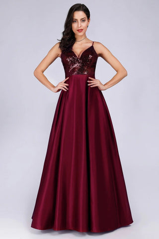 Deep V Neck Long Sleeveless Spaghetti Straps Burgundy Satin Evening Prom Dresses SME15140