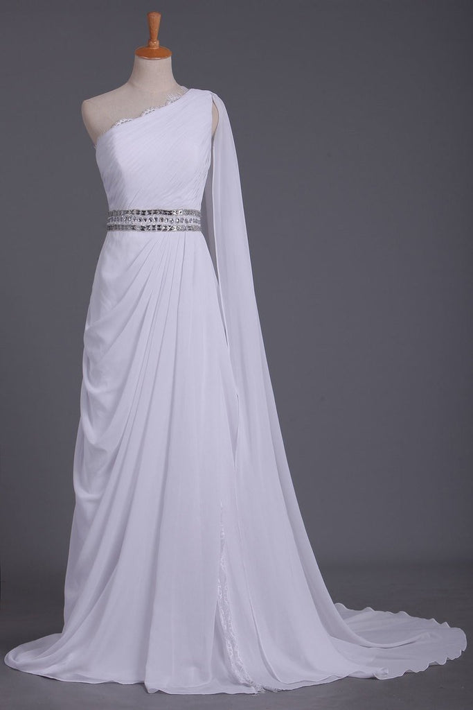 White Prom Dress One Shoulder Pleated Bodice Sheath Beaded Waistline Chiffon Court