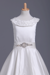 Ankle Length Scoop Flower Girl Dresses A Line Satin With Embroidery And