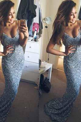 Stunning Mermaid Spaghetti Straps Beading V-Neck Appliques Long Prom Dresses SME923