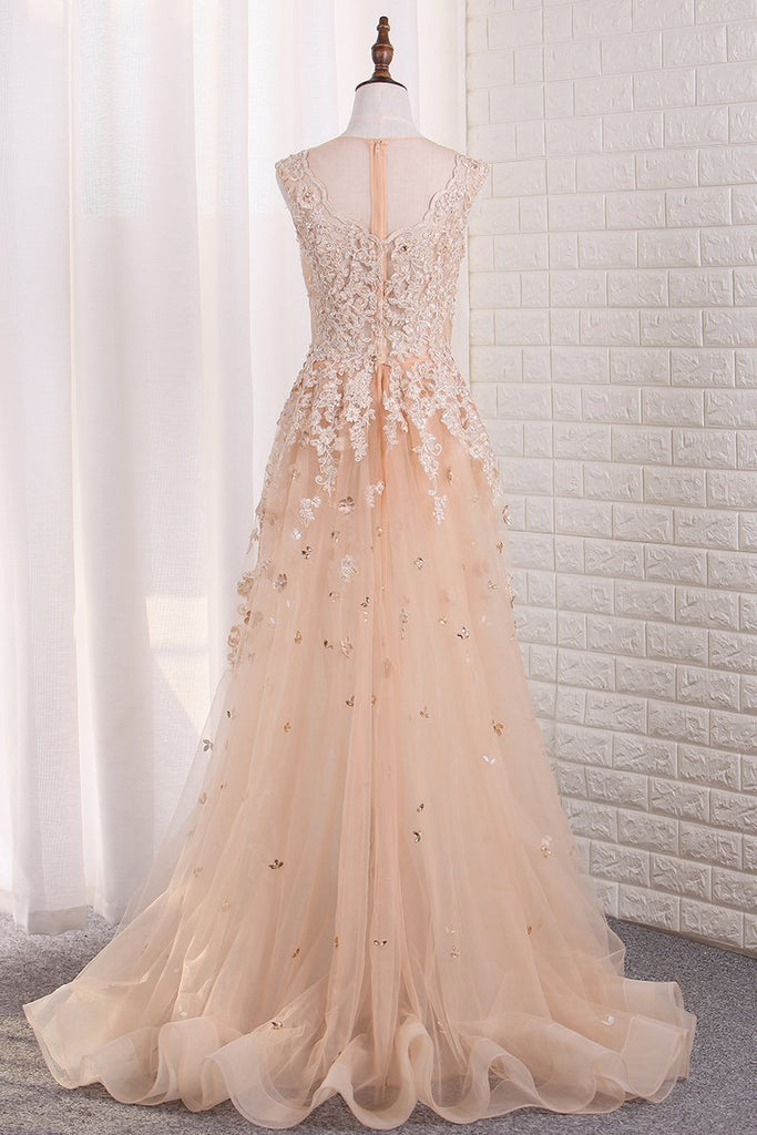 Sexy See-Through Sheath Scoop Prom Dresses Tulle With Applique