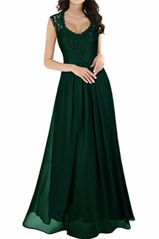 Elegant Sleeveless Round Neck Lace Dress Bridesmaid Party Festive Chiffon Long
