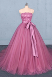 Princess Ball Gown Strapless Wedding Dresses With Lace, Quinceanera