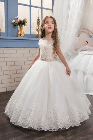 2019 New Arrival Scoop Tulle With Applique Ball Gown Flower Girl