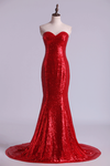 2020 Hot Red Mermaid/Trumpet Evening Dresses Sweetheart Sequined Bodice